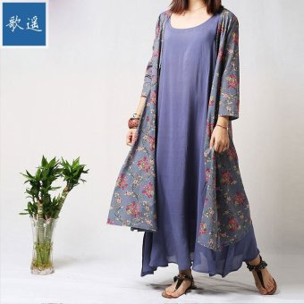 Harga Fashion Muslim Linen Printed Long Sleeves Dress Two Sets of National Style Ladies Dress - intl