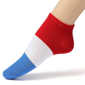 Harga Men Women National Flag Ankle Low Cut Casual Cotton Socks Sport Boat Invisible France