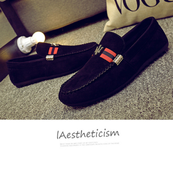 Harga Men's Casual Suede Loafer Shoes Casual Moccasins Driving Shoes Black