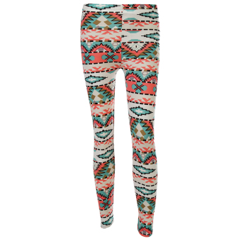 Harga Hequ National Style 3d Print Women's Leggings Triangle Geometric Pattern Stretch Leggins Top Quality Green - intl