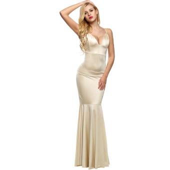 Harga Cyber ANGVNS Elegant Women Strap Backless Bodycon Solid Floor-length Dress Full Gown (Nude) - intl