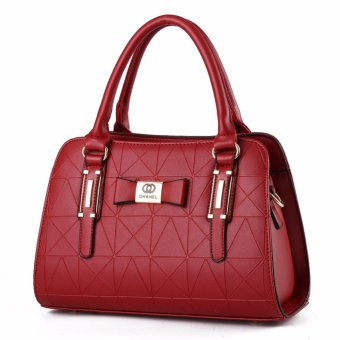 Harga Tas Wanita Fashion Woman Branded Pu Leather Handbags Import Korean And Japanese Ladies Style - Burgundy