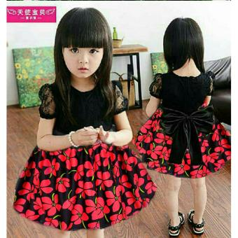Harga MJ Dress Anak Sansan Flowly Kids - Merah