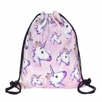 Harga Pink unicorn small Backpack women 3D printing travel softback men mochila drawstring bag School girls backpacks - intl