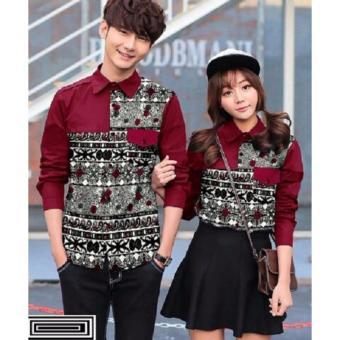 Kemeja Couple Batik Saku Maroon
