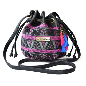Harga V SHOW Ethnic Canvas Drawstring Mini Bucket Backpack Shoulder Bag Satchelpurple