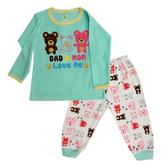 Harga Arrow Apple Kids - Kids Pajamas/ Piyama Anak - Mom & Dad - Aqua - 1 Set