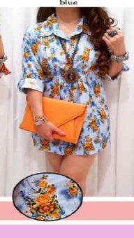 Kyoko Fashion Blouses Yuna Blue .