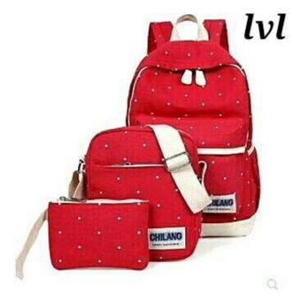 Lestari Fashion - Tas Ransel 3in1 / Back Pack ttk LS005 merah