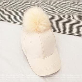 Harga Hang-Qiao Fur Suede Fluffy Ball Snapback Baseball Hat (Creamy White) - intl