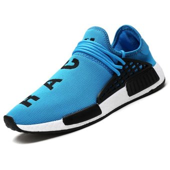 Harga CYOU New 2017 Fashion Men Casual Shoes Lightweight Breathable Air Mesh Trainers Flat Casaul Human Race Mens Shoes (Blue) - intl
