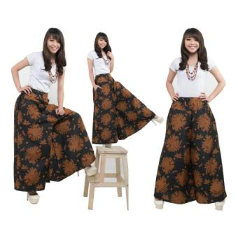 SB Collection Celana Kulot Rok Batik Pad Wide Jumbo Long Pant Coklat .
