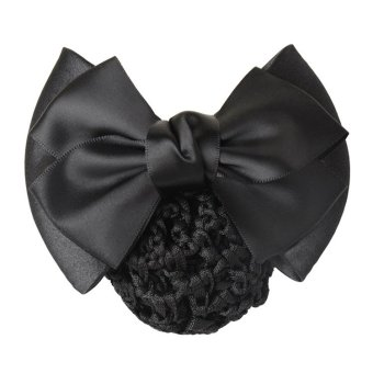 Harga Okdeals Women Bow Barrette Hair Clip Cover Bowknot Bun Snood Hair Accessories Black