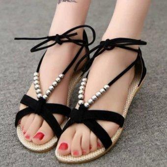 Block Mid Heels. Source · Amart Summer Sandals Women Beaded Wedge Flat .