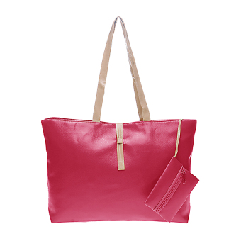 Harga OEM Tas Korea Mode Fashion PU Leather Tote Shoulder Handbag Bags - Pink