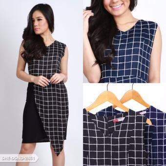 Okothiya Square Sleeveless Mini Dress - Black
