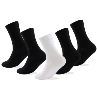 Harga High Quality 5-Pairs Men Cotton Socks Classic Solid Business Brand Men's Socks - intl