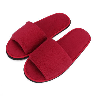 Harga Men Women Coral Velvet Open Toe Hotel Home Spa Slippers Travel Shoes Thick 7mm Red - intl