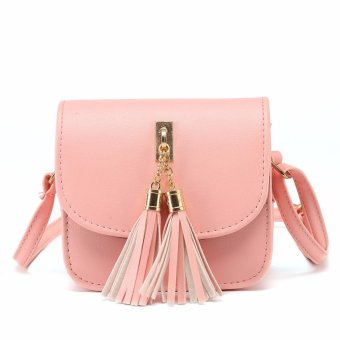 Harga Amart Fashion Women Shoulder Bags Mini Chains Bag PU Leather Candy Color Tassel Handbag - intl