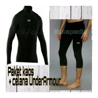 Harga Paket Kaos Gym Fitness Underarmor Under Armour Celana Baselayer Manset Strech Training Legging Leging Cowok