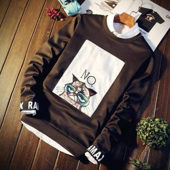 Men's Korean Long Sleeve illusion Casual T-Shirts Coffee - intl