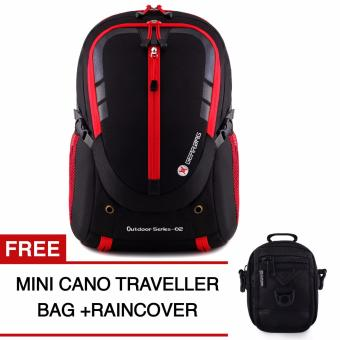 Harga Gear Bag - Cyborg X23 Backpack - Black Red + Raincover + FREE Mini Cano Traveller