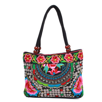 Harga Fashion Ethnic Embroidery Peony Shoulder Bag Women Lady Handbag School Zipper - intl