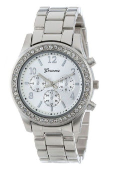 Faux Classic Women s Silver Stainless Steel Strap Watch Jam Tangan .