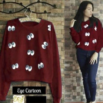 Harga davecollection - blouse eye cartoon - maroon