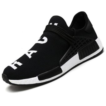Harga CYOU New 2017 Fashion Men Casual Shoes Lightweight Breathable Air Mesh Trainers Flat Casaul Human Race Mens Shoes (Black) - intl