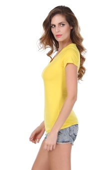 Harga Toprank Angvns Fashion Ladies Women V Neck Short Sleeve Slim Solid Casual T-shirt Blouse ( yellow ) - intl