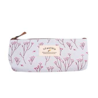 Harga Fancyqube Floral Canvas Pencil / Stationery Bag Light Blue - Intl