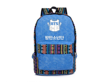 Harga Korean Style Backpack BTS Canvas Shoulder Bag Ethnic Colorful Stripe College Student Blue - Intl
