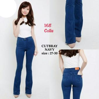 168 Collection Celana Cutbray Jeans Pant-Navy