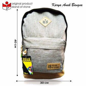 Harga Intristore Tas Pria Backpack Island of Stone Grey - 2