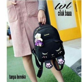 Lestari Fashion - Tas Ransel / Back Pack Wanita Cat Motif 003 Black