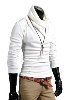 Toprank Korea Men'S Casual Knitted Top Slim Fitting Dress ShirtsLong Sleeve Knitting Cotton T-Shirt