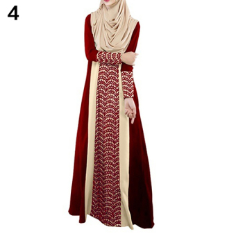Harga Bluelans Muslim Arab Jilbab Abaya Islamic Ethnic Lace Splicing Long Sleeve Maxi Dress L (Red) - intl