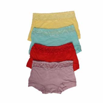 EELIC 1739 Celana Dalam Wanita, 4 Pcs Warna Kuning Muda, Biru Muda, Merah