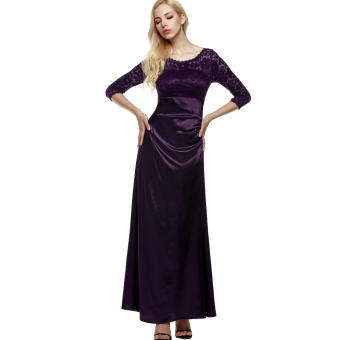 Harga Cyber ANGVNS Women 3/4 Sleeve Lace Padded Party Wedding Cocktail Party Evening Dress (Purple) - intl