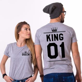 Harga Hequ Shirts Man Short Sleeve O neck Cotton T-shirt King Queen Casual Print Couples Leisure T-shirt Women T shirt Grey - intl