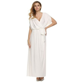 Harga Cyber ANGVNS Sexy Women Batwing Sleeve Deep V Neck Solid Maxi Long Dress Party Evening Full Gown with Belt ( White )