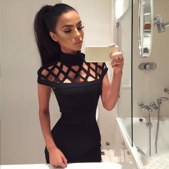 Women Fashion Sexy Slim Stand Collar Hollow Out Solid Bodycon Pencil Party Club Short Mini Dress