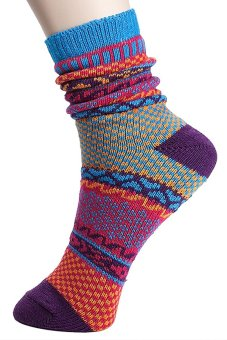Harga Cocotina Vintage Ethnic Style Winter Multicolor Stripe Men's Women Casual Stitch Warm Socks – C
