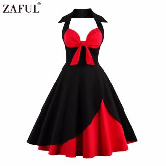 Harga Zaful Women Vintage Ball Gown Sexy Plus Size 50S Vintage Robe Halter(Black) - intl