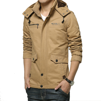 2017 Autumn Men Jacket Outerwear Zipper Male Casual Coat Clothing Solid Thick Outwear Army Cotton Jackets