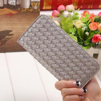 Amart PU Leather Clutch Wallets Hand Bag Change Purse( Silver) - Intl