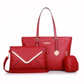 Harga Great Tas Wanita Fashion Korea Korean Style Y34 Best Quality PU Leather 3in1 - Merah