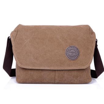 Shimon Men's Messenger Shoulder Canvas Bag Travel Crossbody Bag - Coffee