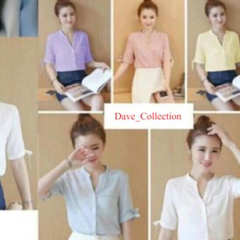 Harga DaveCollection - Blouse Hems Sisca - Yellow